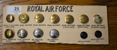 Royal Air Force Buttons (13) including:- R.F.C., RAF, RAF Observer Corps, A.T.C. etc.
