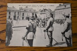 French WWI RP Postcard of General Salueert watching the Parade of a French Regiment on their way