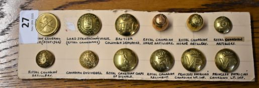 Canadian Forces Military Buttons (12) including: Canadian General Service, Lord Stratcona's Horse,