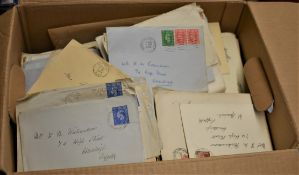 Great Britain 1930's to 1950's cover accumulation in a full box - many Suffolk, family lot - slogans