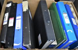 Collections & Mixed - A large carton with (11) albums, stock books and folders - mostly British