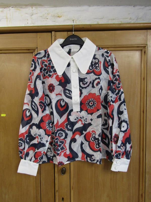 Lot 140 - VINTAGE CLOTHING, a Biba style blouse (faded) & 2 retro dresses, one By David Bulter Designer
