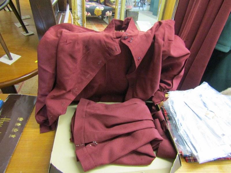 Lot 137 - JAEGER, retro young Jaeger burgundy skirt & similar blouse in original box, skirt size 12