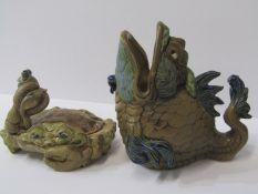 "ANDREW HULL, Burslem Pottery, comical fish jug, 6"" height and similar crab lidded dish, 4"" height"
