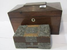 """VICTORIAN TEA CADDY, mahogany triple section tea caddy, 11"""" width, together with Edwardian crafted"""