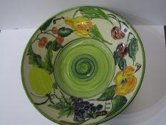 "STUDIO POTTERY, Paul Jackson fruit decorated 16"" diameter circular table bowl"