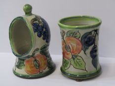 """STUDIO POTTERY, Paul Jackson 7"""" salt pig and 5.25"""" waisted vase, both decorated with grape and fruit"""
