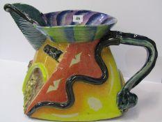 "STUDIO POTTERY, Paul Jackson ""Cubist"" design large jug decorated with sea designs, 10"" height, 17"""