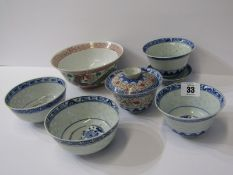 ORIENTAL CERAMICS, collection of 6 various oriental rice bowls, 2 with stands (some with signed