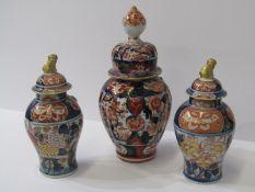 "ORIENTAL CERAMICS, Imari 8.5"" lidded vase; together with pair of Chinese Imari inverted baluster 6."