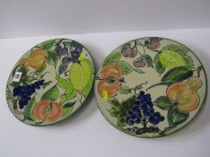 """STUDIO POTTERY, Paul Jackson, 2 grape and fruit decorated cake stands dated 2002, 10.5"""" diameter"""