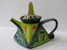 "STUDIO POTTERY, Paul Jackson ""Cubist"" design teapot and lid, 8"" height"