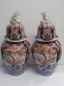 "ORIENTAL CERAMICS, pair of impressive Imari 24"" lidded vases, temple dog finials (both lids damaged)"