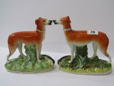 """STAFFORDSHIRE POTTERY, pair of 19th Century Hunting Whippets with Game, 7"""" height"""
