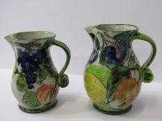 "STUDIO POTTERY, 2 Paul Jackson, grape and fruit decorated jugs, 6"" height"
