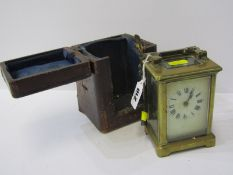 CARRIAGE CLOCK, French brass cased bevelled glass carriage clock with key, together with early