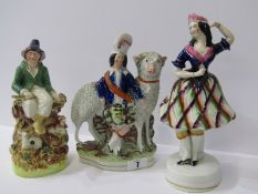 """STAFFORDSHIRE POTTERY, 19th Century Staffordshire group of Highland Girl with large Sheep, 8"""";"""