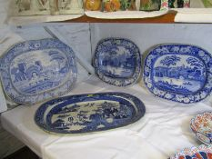 """BLUE TRANSFERWARE, 2 Victorian """"Canal"""" pattern 16"""" meat plates, also early 19th Century """"Castle"""