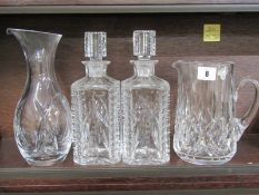 """WATERFORD GLASS, pair of square base whisky decanters, also Waterford cut glass jug, 7"""" and 10"""""""