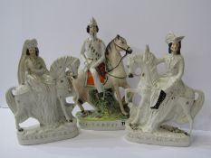 """STAFFORDSHIRE POTTERY, pair of Equestrian groups """"King William III"""" and """"Queen Mary"""", 10.5"""" height"""