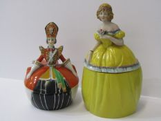 """GOEBEL, novelty powder bowl in form of Russian Princess, 6.5 """" height, together with similar"""