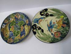 "STUDIO POTTERY, Paul Jackson ""Fish"" design 11.5"" shallow circular dish and ""Kingfisher"" pattern cake"