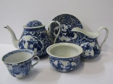 ORIENTAL CERAMICS, 19th Century Japanese underglaze teapot, together with 4 similar pieces of