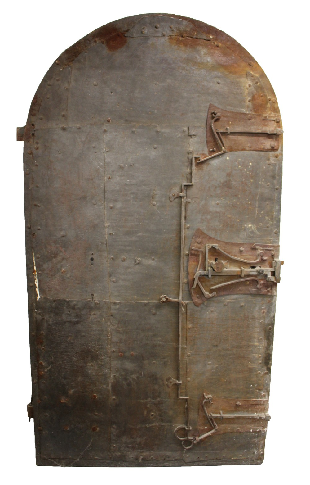 Lot 1014 - A VERY EARLY 14TH-15TH CENTURY CAST IRON DOOR, probably GERMAN, with a three action bolt lock. 6ft