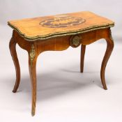 A 19TH CENTURY FRENCH WALNUT, MARQUETRY AND ORMOLU CARD TABLE, with serpentine folding top, shaped