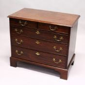 A GOOD SMALL GEORGE III MAHOGANY CHEST OF TWO SHORT AND THREE GRADUATED LONG DRAWERS, and with brass