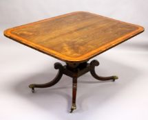 A REGENCY ROSEWOOD AND SATINWOOD BANDED TILT TOP BREAKFAST TABLE, with rounded rectangular top,