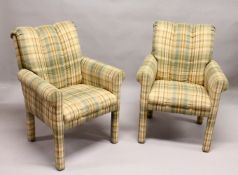 A PAIR OF MODERN ARMCHAIRS, upholstered with a Burberry style check fabric.