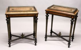A PAIR OF 19TH CENTURY FRENCH WALNUT, EBONISED AND ORMOLU RECTANGULAR JARDINIERES, with removable