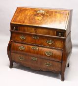 A GOOD 18TH CENTURY DUTCH MARQUETRY BUREAU with fall flap, fitted interior, with well above two