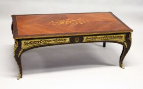 A FRENCH STYLE MAHOGANY, MARQUETRY AND ORMOLU MOUNTED RECTANGULAR COFFEE TABLE. 4ft 0ins long x