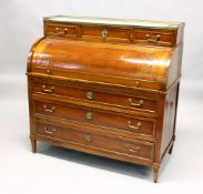A 19TH CENTURY CONTINENTAL FRUITWOOD CYLINDER BUREAU, with brass galleried marble top, over three