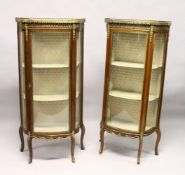 A PAIR OF FRENCH MAHOGANY, ORMOLU AND MARBLE BOWFRONT VITRINES, MID 20TH CENTURY, with galleried