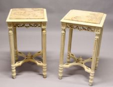 A PAIR OF FRENCH STYLE CREAM PAINTED, MARBLE TOP SQUARE LAMP TABLES. 2ft 4ins high x 1ft 4ins wide.