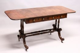 A GOOD GEORGE III MAHOGANY SOFA TABLE, with a rounded rectangular top, one real and one dummy frieze