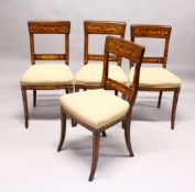A SET OF FOUR DUTCH MAHOGANY AND MARQUETRY DINING CHAIRS, broad cresting rail, overstuffed seats