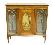 A GOOD EDWARDIAN SATINWOOD CHINA CABINET, the top painted with an oval of cupids, the front with a