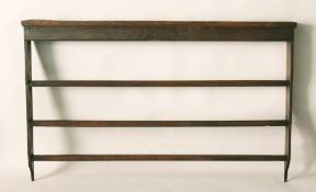 AN 18TH CENTURY OAK TRIPLE DELFT RACK of plain design. 5ft 6.5ins long x 3ft 5ins high.