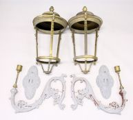 A VERY LARGE PAIR OF HEAVY BRASS TAPERING LANTERNS with pineapple finials (lacking glass panels),