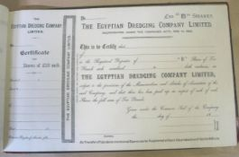 EGYPT / SHARE CERTIFICATES. Album of share certificates for the Egyptian Dredging Company, 1880s?,