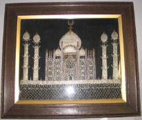 ISLAMIC EMBROIDERY / MIDDLE EAST / TURKEY?. Silver and gold thread view of a mosque, circa 1900.