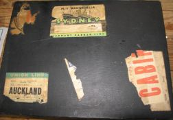 WEST AFRICA. Small suitcase, with vintage luggage labels, containing photographs, ephemera and