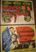 "[FILM POSTERS] 2 x half-sheet, ""Her Highness and the Bellboy"", and, ""Gentleman's Agreement"","