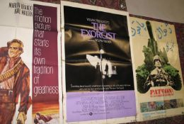 "[FILM POSTERS] 3 x full sheets, ""Patten"", ""The Exorcist"", and ""One Eyed Jacks"" (worn, sellotape"