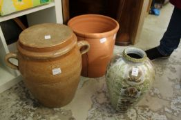 A Denby vase and two bread crocks,