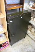 A metal storage cabinet.